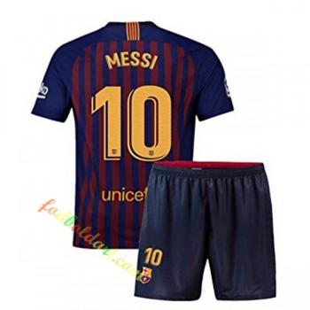 Billige Fodboldtrøjer Barcelona Trøje Børn 2018-19 Lionel Messi 10 Hjemmebanetrøje